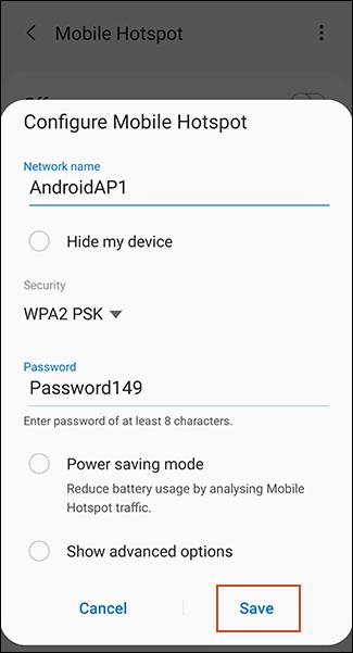 تنظیمات هات اسپات گوشی اندروید